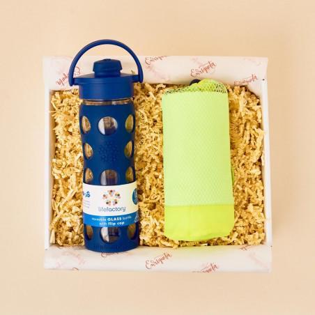 Caja para atletas con botella eco y toalla