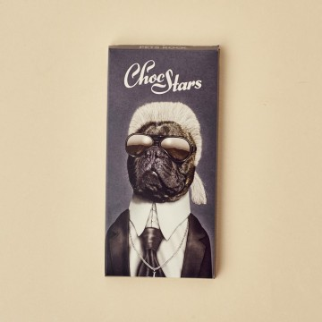 Tableta de chocolate con imagen de Karl Lagerfeld de ChocStars
