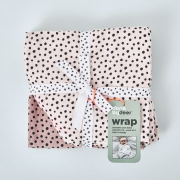 """Pack 2 Muselinas Done by Deer para Bebé """"Happy dots"""" Color Rosa"""
