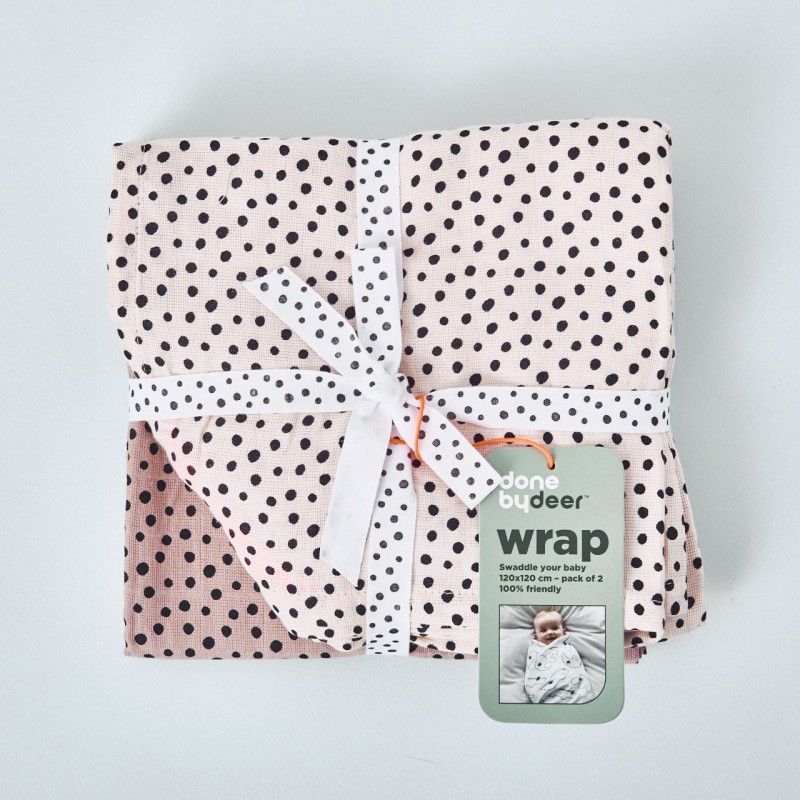 "Pack 2 muselinas ""happy dots"" en rosa Done by Deer"