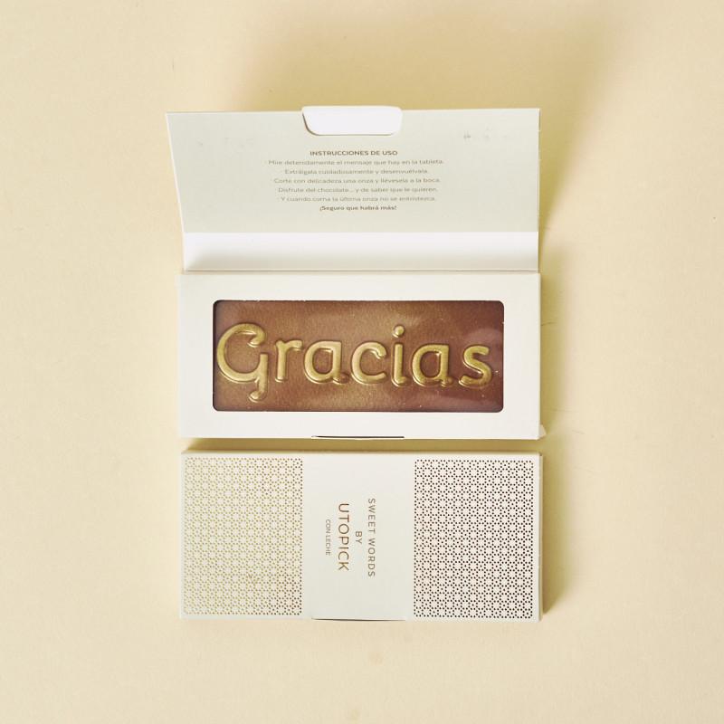 """Chocolate Utopick con la palabra """"Gracias"""" grabada - Ideas de regalo para profesores"""
