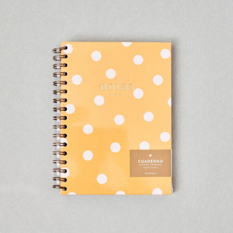 Cuaderno Yellow Charuca, con topos blancos