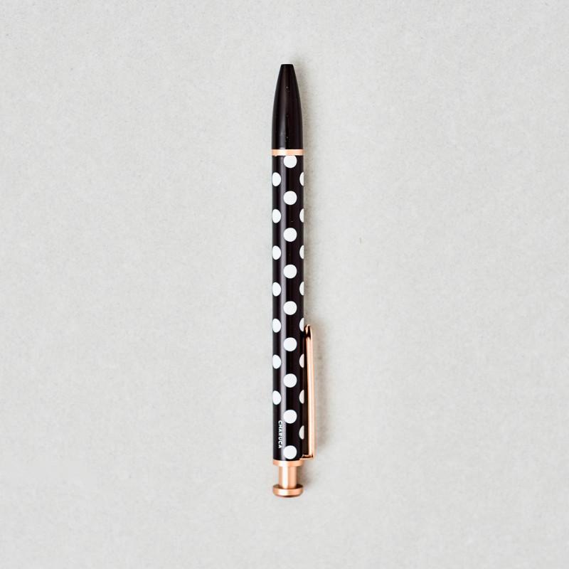 Bolígrafo Charuca negro, con topos blancos