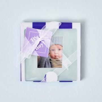 """Set dos posavasos """"new baby"""" Azul con fotografía de bebé"""