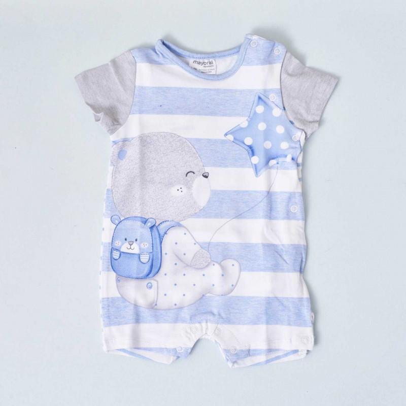 Pijama de manga corta a rayas azules y blancas Mayoral, con ilustración de osito