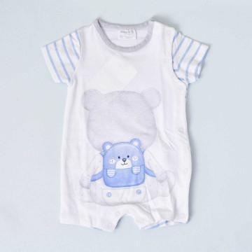 Pijama de manga corta blanco Mayoral, con detalles azules y grises, modelo Osito