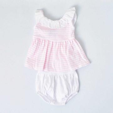 Conjunto Jesusito de algodón navy rosa Babidú
