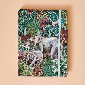 Libreta Bonita con estampado tropical y elefantes