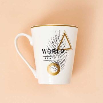 """Tazón de porcelana detalles dorados. Mensaje """"World Peace""""."""