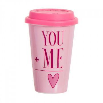 Taza térmica con frase romántica You+Me, color rosa