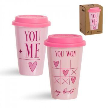Taza tapa silicona, color rosa dos tonos con frase romántica