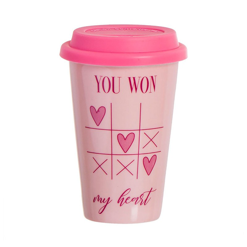 Taza térmica con frase romántica You won my hearth, color rosa