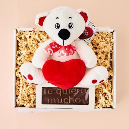 Osito amoroso de peluche con chocolate Te quiero Mucho
