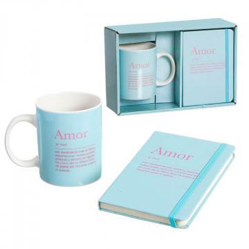 Detalles románticos: pack taza y libreta Amor