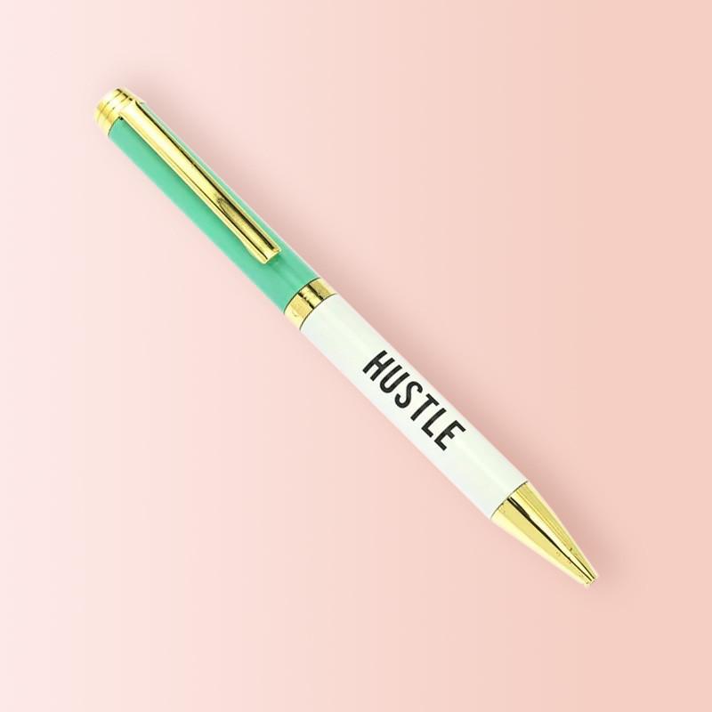 Bolígrafo Verde y Blanco, con detalles en dorado, modelo Hustle