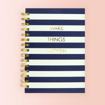Cuaderno Bonito con Espiral Dorada y Bandas Azul Marino y Blancas