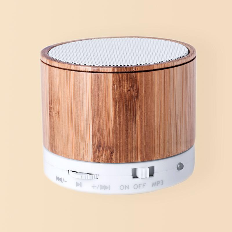 Altavoz Bluetooth móvil de bambú