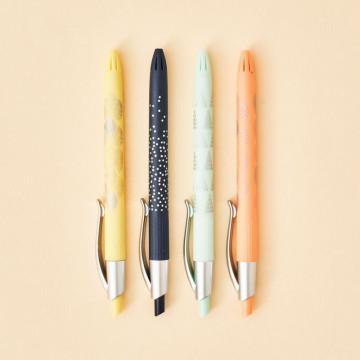 Pack bolígrafos Milan P1 Silver, colores azul, amarillo, verde y naranja.