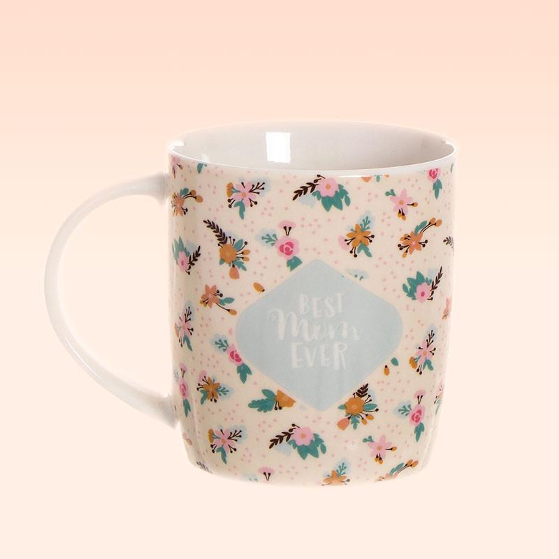 Taza de Porcelana con Mensaje para la Mejor Madre del Mundo, Best Mom Ever