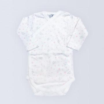 Body bebé niña blanco con estrellas rosas, manga larga, Babidú