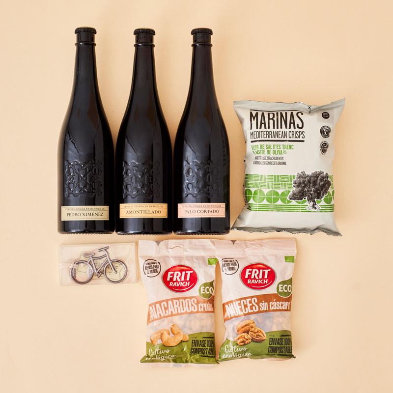 Regalo para amantes de la cervez, 3 cervezas Alhambra edición numerada, frutos secos eco, patatas y abridor