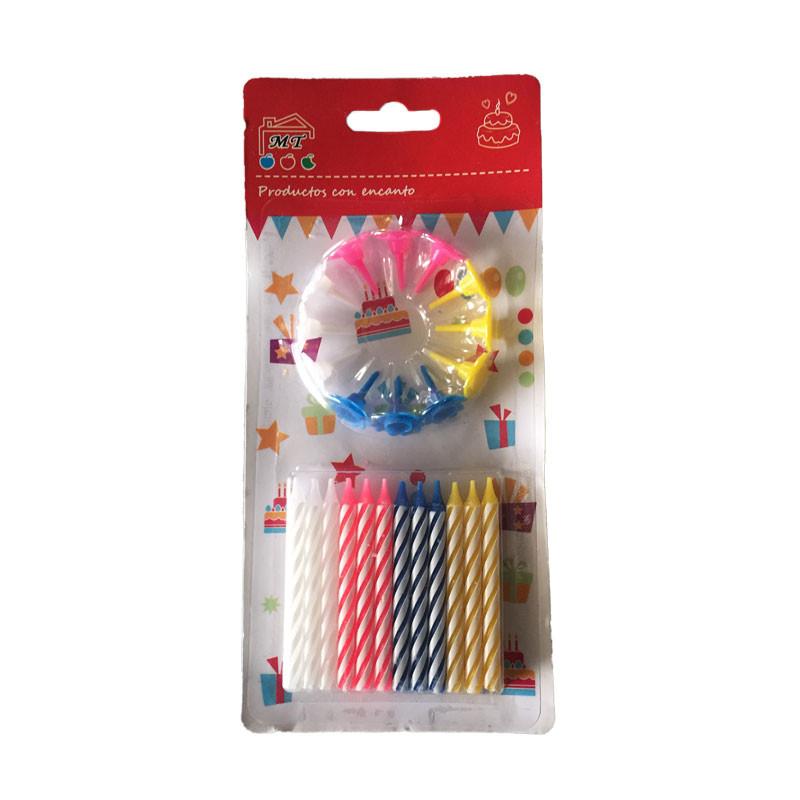 Pack de velas de cumpleaños multicolores, 12 unidades