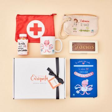 Regalos para Enfermeras Originales, pack con neceser, portatodo, chocolate, libreta, taza y bote de gominolas