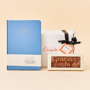 Pack regalo Gracias Profe con chocolate Utopick y libreta azul A5