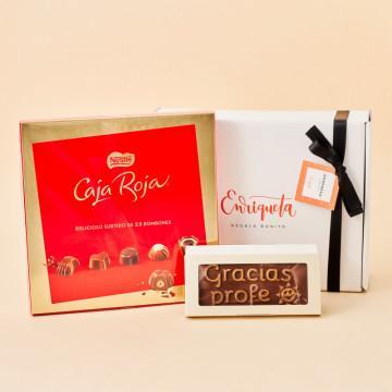 El regalo más dulce para tu profe: Caja Roja de bombones Nestlé y chocolate artesanal Utopick Gracias