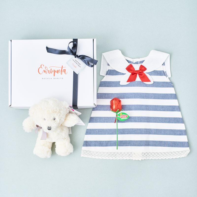 Canastilla Bebé Niña Navy con vestido Juliana, osito de peluche y rosa de chocolate