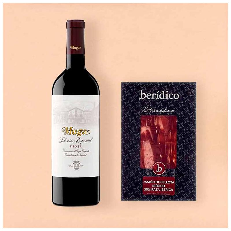 Pack vino tinto Muga Rioja Selección Especial y Jamón de bellota ibérico Berídico