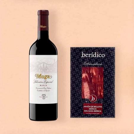 Pack vino tinto Muga Rioja Selección Especial y Jamón de bellota ibérico 50%