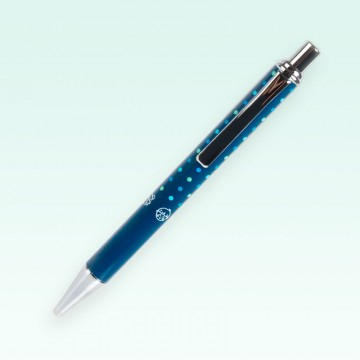 Bolígrafo solidario metálico UNICEF, color azul y topos turquesas