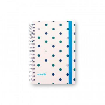Cuaderno tapa dura UNICEF tapa blanca con lunares y cierre por goma elástica