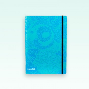 Cuaderno UNICEF tapa blanda modelo Mar, interior liso