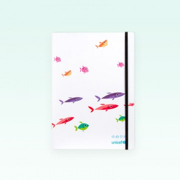 Cuaderno UNICEF tapa blanda modelo Peces, cuadrícula