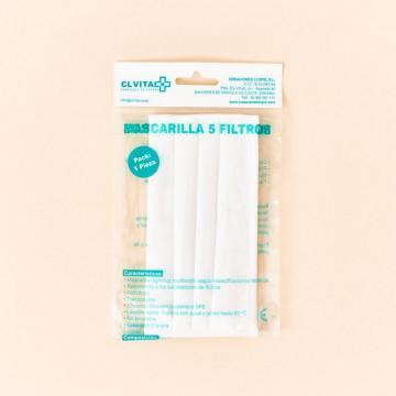 Mascarilla higiénica reutilizable Blanca 5 filtros CLVital UNE 0065