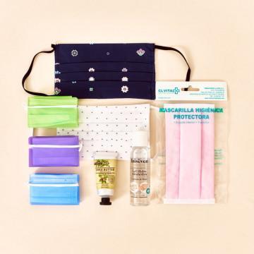 Kit de protección con mascarillas higiénicas homologadas, portamascarillas, gel hidroalcohólico y crema hidratante de manos