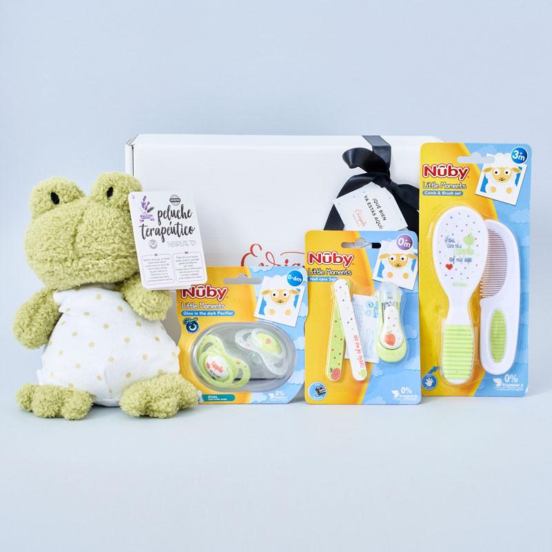 Canastilla bebé con peluche terapéutico Artesavi, chupetes, cortaúñas y cepillo Nûby