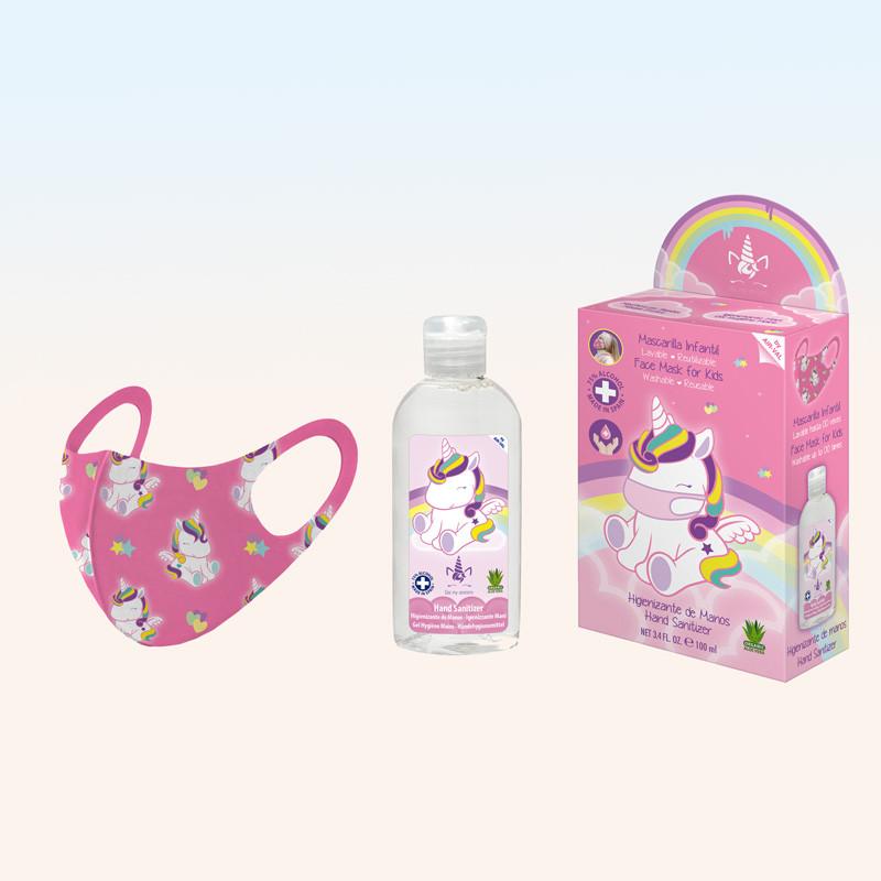 Kit mascarilla higiénica reutilizable infantil rosa con gel hidroalcohólico