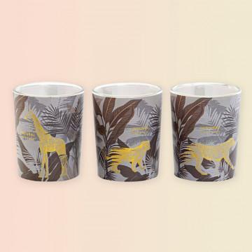 Set de 3 velas decoradas con motivos tropicales y animales