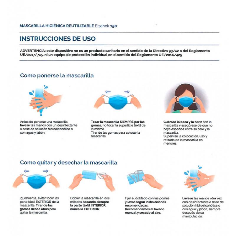 Instrucciones uso mascarilla higiénica reutilizable azul con tejido Elsanek 125