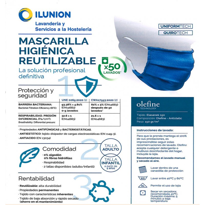Ficha técnica mascarilla higiénica reutilizable azul con tejido Elsanek 125