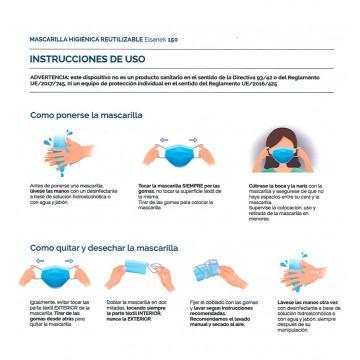 Instrucciones uso mascarillas higiénicas