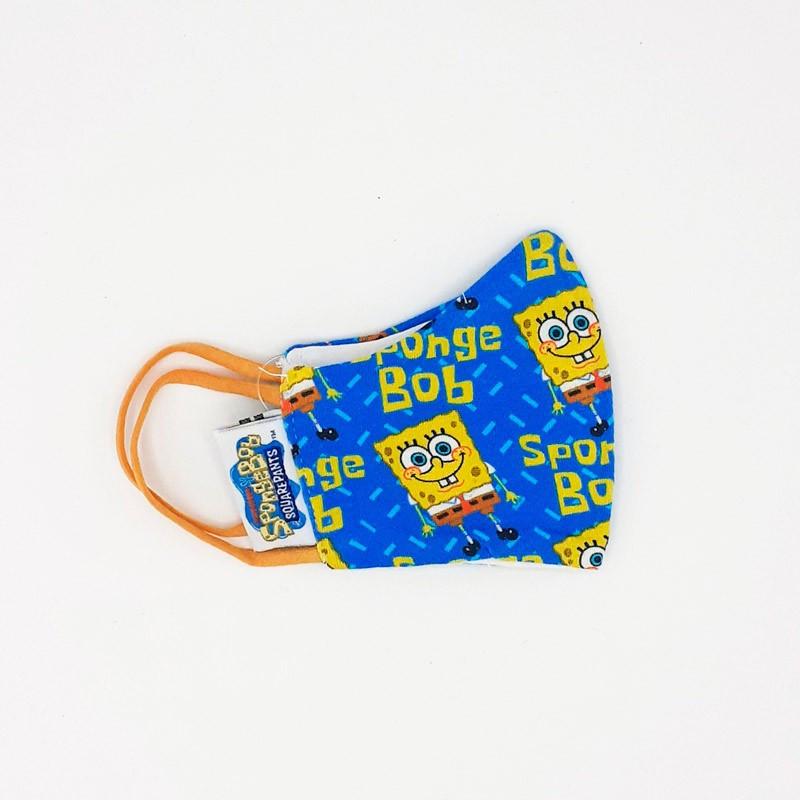 Mascarilla infantil lavable de tela, modelo Bob Esponja