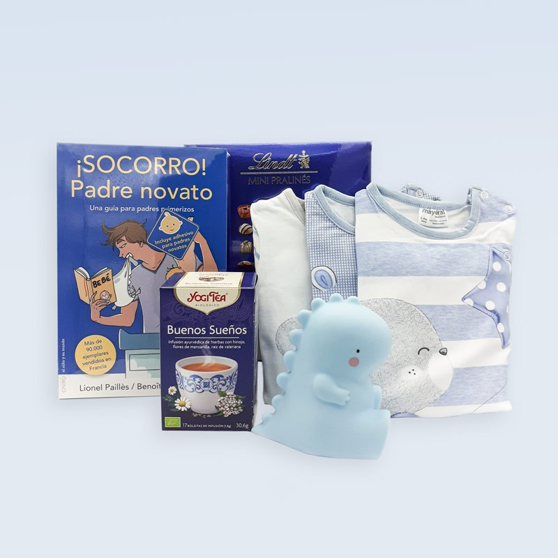 Canastilla para bebé con kit de supervivencia para padres primerizos