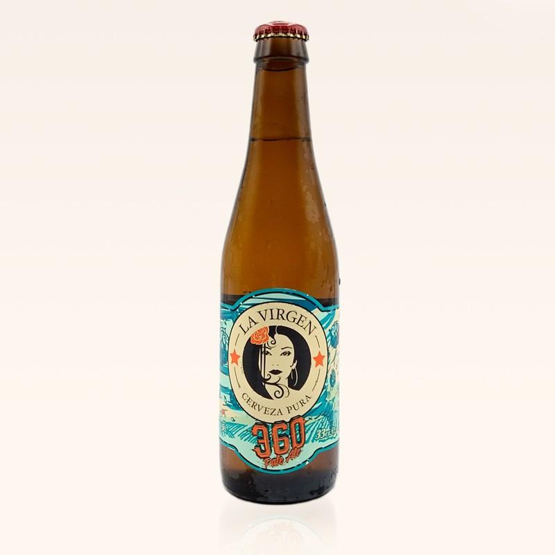 Cerveza La Virgen 360 Pale Ale, rubia. Botella de 33 cl.
