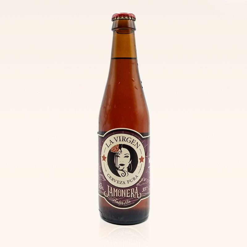 Cerveza La Virgen Jamonera, botella de 33 cl.