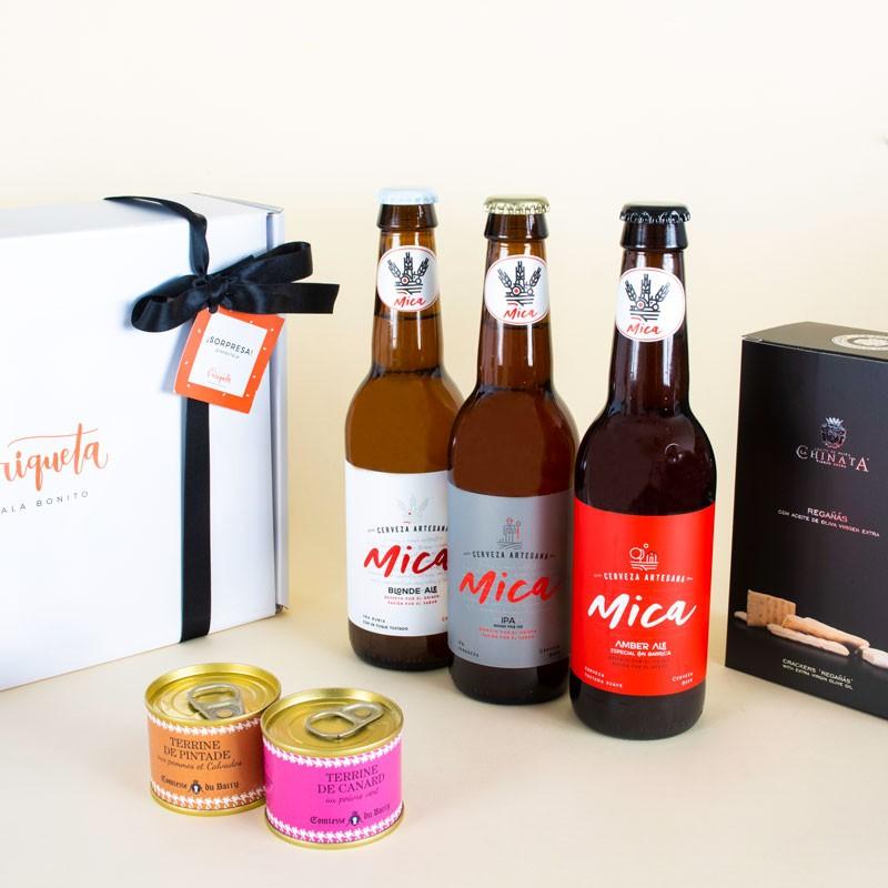 Cesta gourmet Degustación de cervezas artesanales Mica con patés