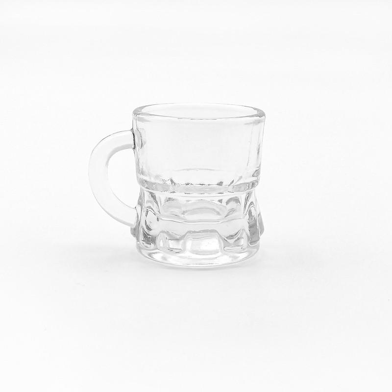 Vaso de chupito de cristal transparente con asa